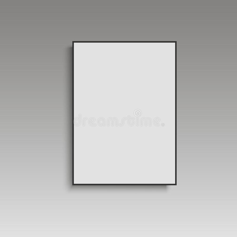 Άσπρη αφίσα με τη μαύρη χλεύη πλαισίων επάνω στον γκρίζο τοίχο διάνυσμα απεικόνιση αποθεμάτων