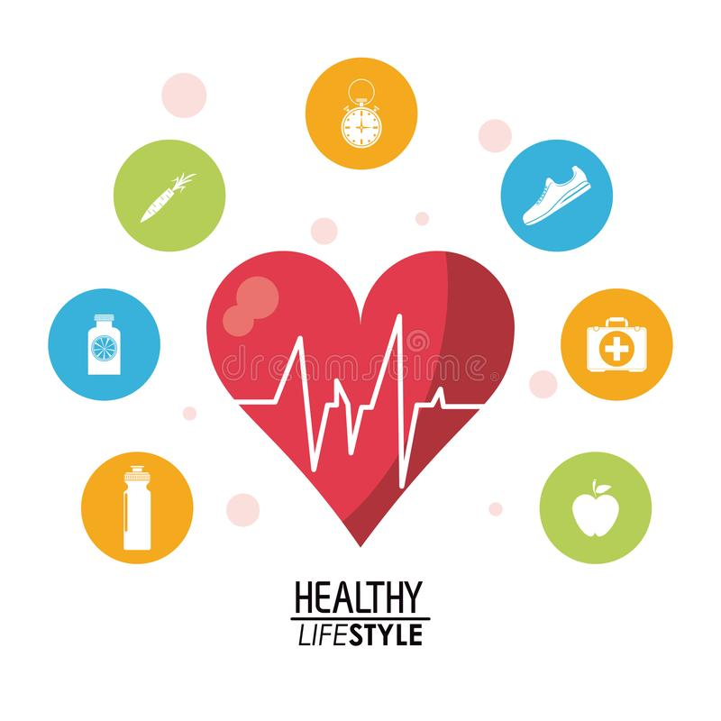Άσπρη αφίσα με το ρυθμό κτύπου της καρδιάς με το ζωηρόχρωμο κυκλικό πλαίσιο με το σύνολο σκιαγραφιών υγιών εικονιδίων τρόπου ζωής διανυσματική απεικόνιση