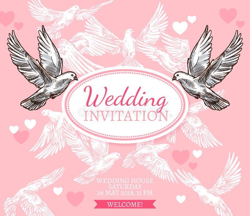 Άσπρη αφίσα σκίτσων περιστεριών της γαμήλιας πρόσκλησης απεικόνιση αποθεμάτων