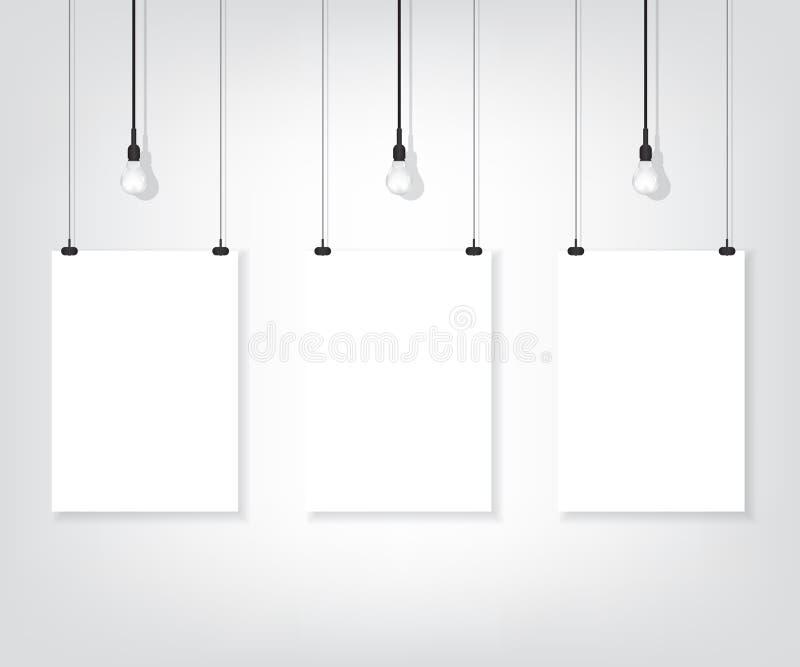 Άσπρη αφίσα τρία στον τοίχο και το βολβό απεικόνιση αποθεμάτων