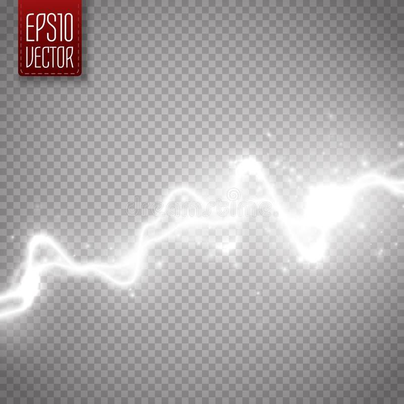 Άσπρη αφηρημένη επίδραση ενεργειακού κλονισμού απαλλαγή ηλεκτρική Διανυσματική αστραπή ελεύθερη απεικόνιση δικαιώματος