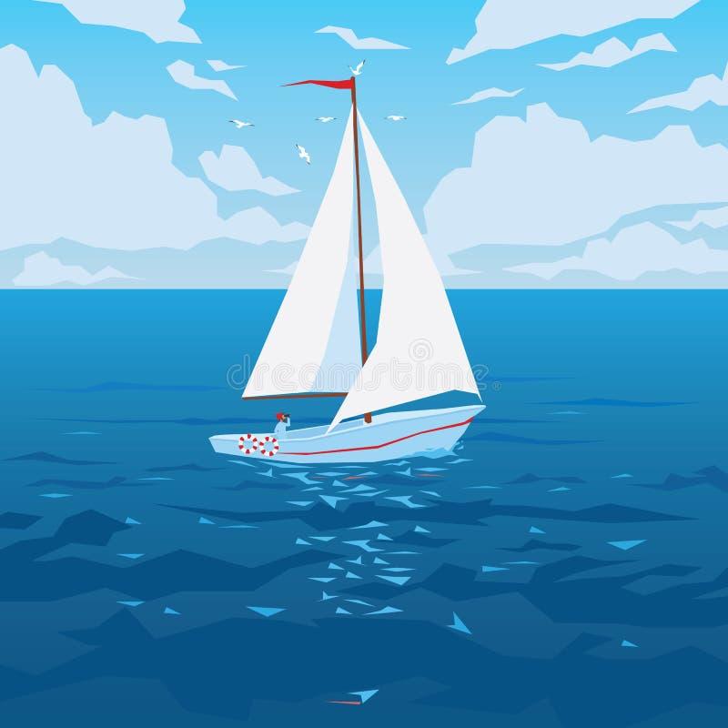 Άσπρη βάρκα με το πανί και τη κόκκινη σημαία διανυσματική απεικόνιση