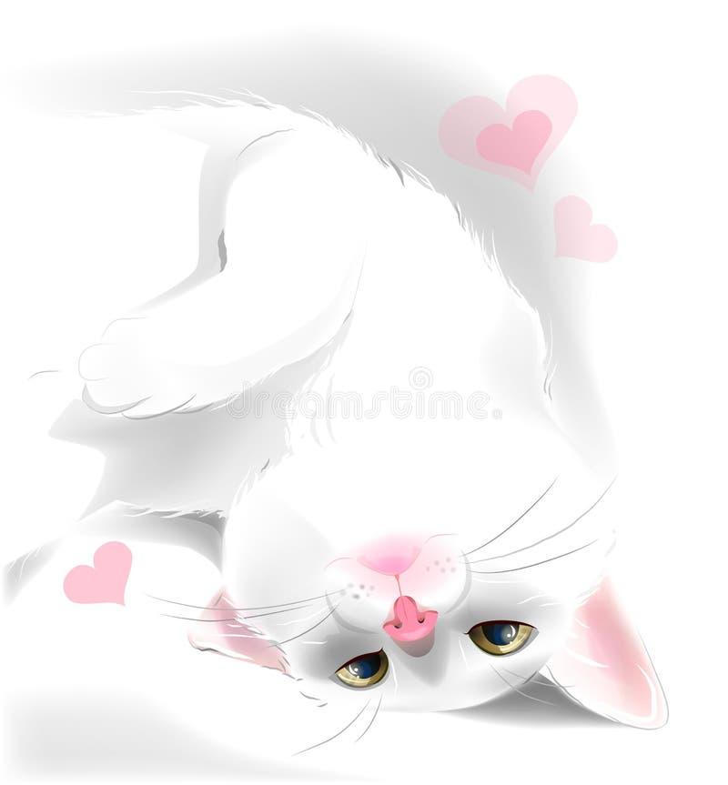 άσπρη γάτα για τη ευχετήρια κάρτα ημέρας του βαλεντίνου διανυσματική απεικόνιση