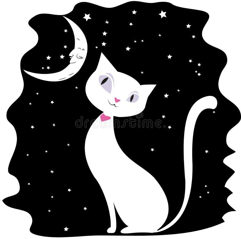 Άσπρη γάτα σε έναν μαύρο νυχτερινό ουρανό, τα αστέρια και το φεγγάρι απεικόνιση αποθεμάτων