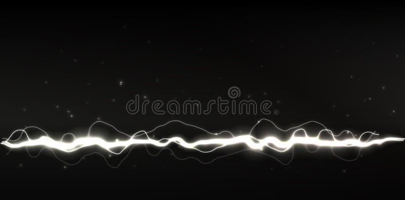 Άσπρη διανυσματική λάμψη αστραπής ή μαγική ακτίνα στο μαύρο υπόβαθρο, διανυσματική απεικόνιση διανυσματική απεικόνιση