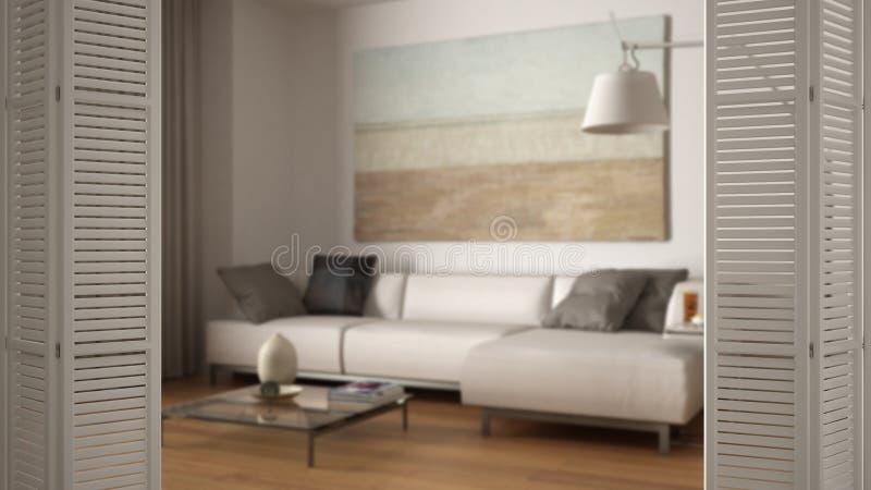 Άσπρη διπλώνοντας πόρτα που ανοίγει στο σύγχρονο καθιστικό, άσπρο εσωτερικό σχέδιο, έννοια σχεδιαστών αρχιτεκτόνων, θαμπάδα απεικόνιση αποθεμάτων
