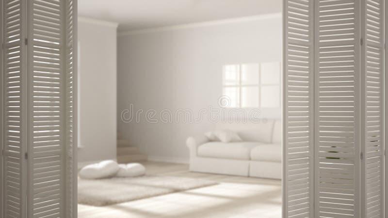 Άσπρη διπλώνοντας πόρτα που ανοίγει στο σύγχρονο Σκανδιναβικό καθιστικό με τον καναπέ, άσπρο εσωτερικό σχέδιο, έννοια σχεδιαστών  ελεύθερη απεικόνιση δικαιώματος