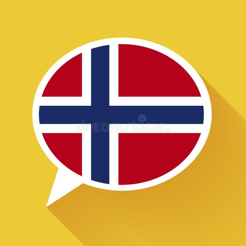 Άσπρη λεκτική φυσαλίδα με τη σημαία της Νορβηγίας απεικόνιση αποθεμάτων