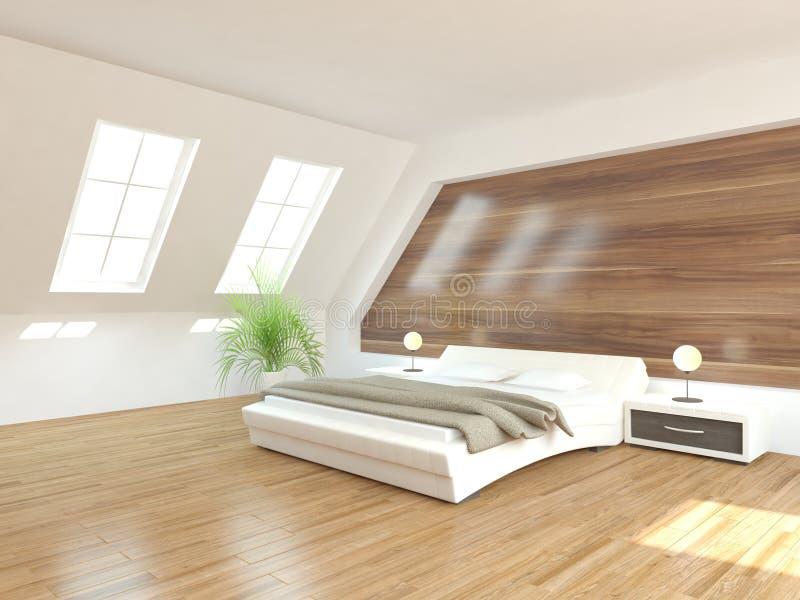 Άσπρη εσωτερική έννοια για την κρεβατοκάμαρα διανυσματική απεικόνιση