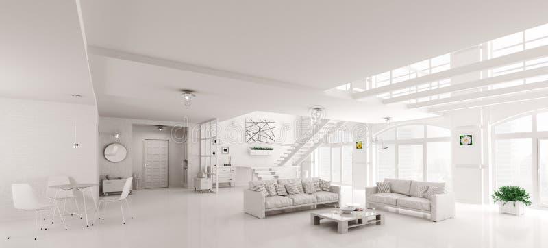 Άσπρη εσωτερική τρισδιάστατη απόδοση lof απεικόνιση αποθεμάτων