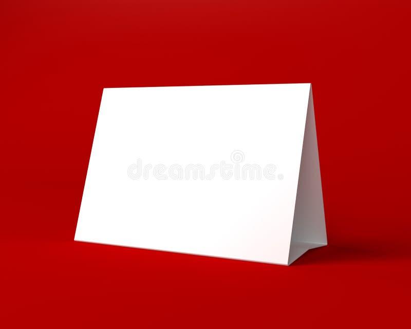 Άσπρη ευχετήρια κάρτα Χριστουγέννων στο κόκκινο υπόβαθρο διανυσματική απεικόνιση