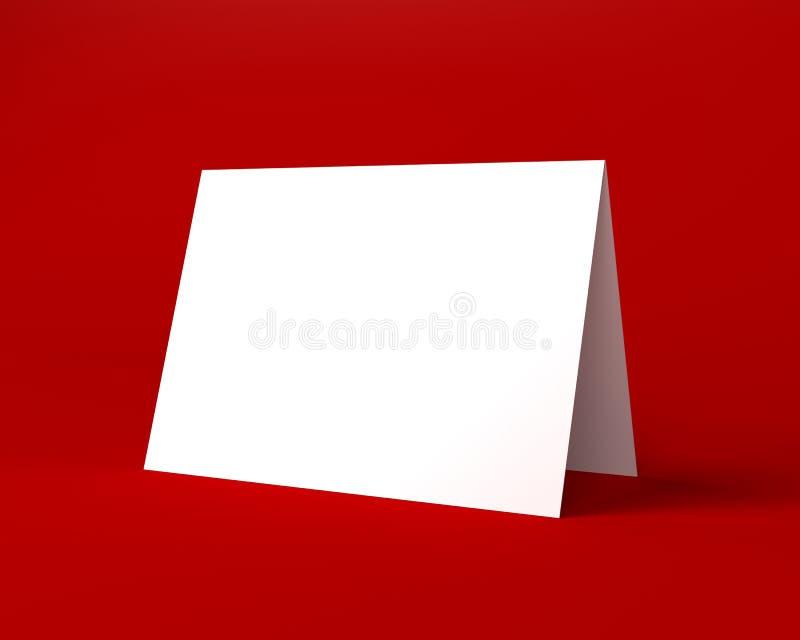 Άσπρη ευχετήρια κάρτα Χριστουγέννων στο κόκκινο υπόβαθρο απεικόνιση αποθεμάτων