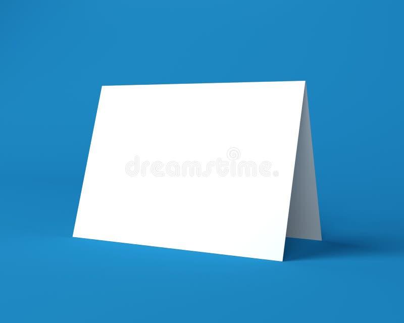 Άσπρη ευχετήρια κάρτα Χριστουγέννων στο μπλε υπόβαθρο διανυσματική απεικόνιση