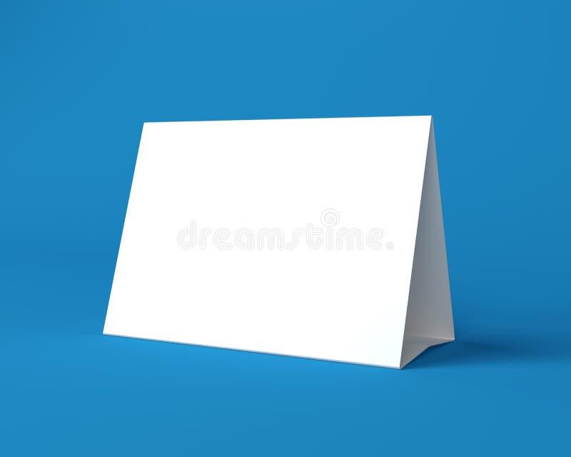Άσπρη ευχετήρια κάρτα Χριστουγέννων στο μπλε υπόβαθρο απεικόνιση αποθεμάτων