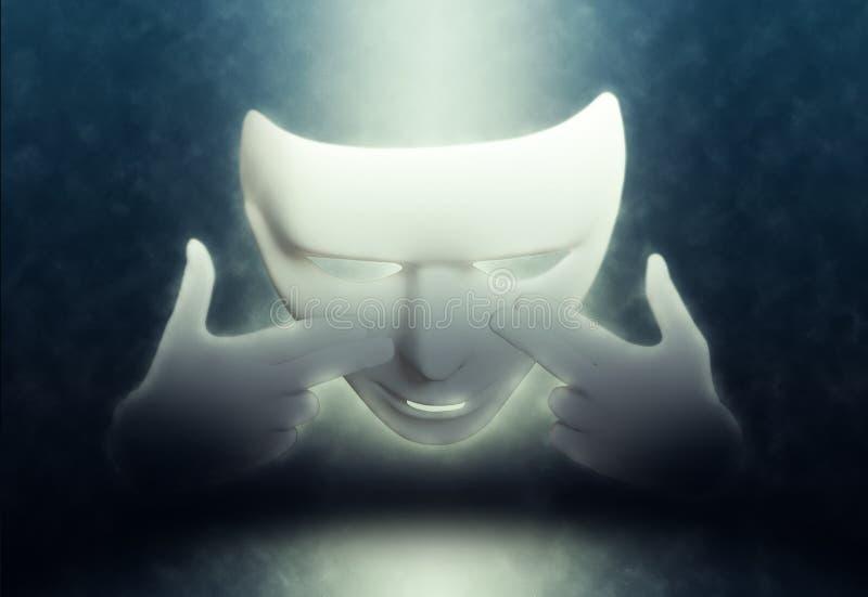 Άσπρη θεατρική μάσκα Mime στο σκοτάδι στοκ φωτογραφία με δικαίωμα ελεύθερης χρήσης