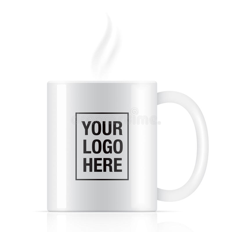 Άσπρη διανυσματική κούπα καφέ ελεύθερη απεικόνιση δικαιώματος