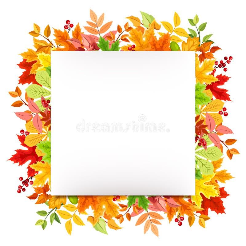 Άσπρη κάρτα με τα ζωηρόχρωμα φύλλα φθινοπώρου Διάνυσμα eps-10 διανυσματική απεικόνιση
