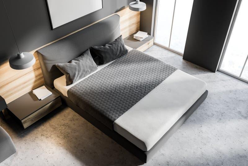 Άσπρη και γκρίζα κρεβατοκάμαρα με την αφίσα, τοπ άποψη απεικόνιση αποθεμάτων