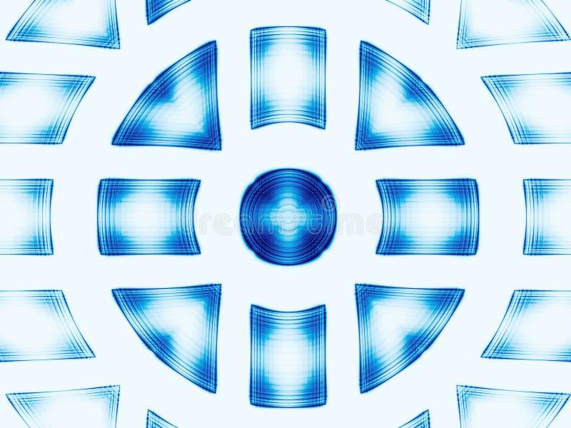 Άσπρη και μπλε διακόσμηση κύκλων - η περίληψη παρήγαγε ψηφιακά im απεικόνιση αποθεμάτων