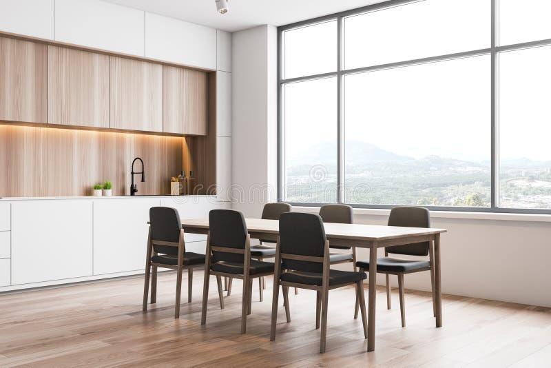 Άσπρη και ξύλινη γωνία κουζινών σοφιτών, πίνακας απεικόνιση αποθεμάτων