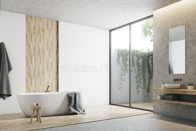 Άσπρη και ξύλινη γωνία λουτρών διανυσματική απεικόνιση