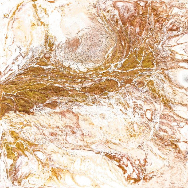 Άσπρη και χρυσή μαρμάρινη σύσταση Το χέρι σύρει τη ζωγραφική με τη σύσταση και τα χρώματα χρυσού και χαλκού Χρυσό μάρμαρο στοκ εικόνες με δικαίωμα ελεύθερης χρήσης