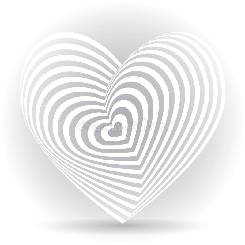 Άσπρη καρδιά σε ένα άσπρο υπόβαθρο Οπτική παραίσθηση του τρισδιάστατου τρισδιάστατου όγκου διανυσματική απεικόνιση