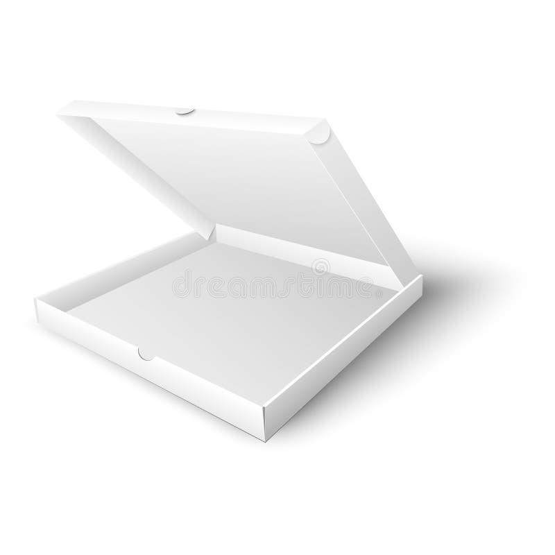 Άσπρη κενή ανοικτή χλεύη κιβωτίων πιτσών επάνω στη διανυσματική απεικόνιση στο ρεαλιστικό ύφος ελεύθερη απεικόνιση δικαιώματος