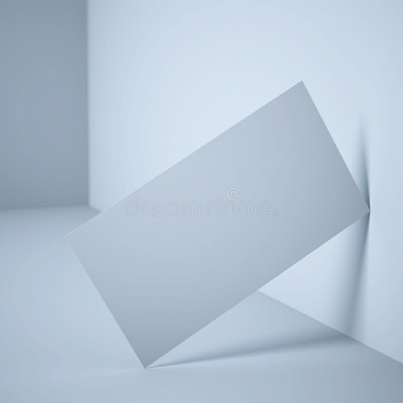 Άσπρη κενή επαγγελματική κάρτα κοντά στον τοίχο απεικόνιση αποθεμάτων