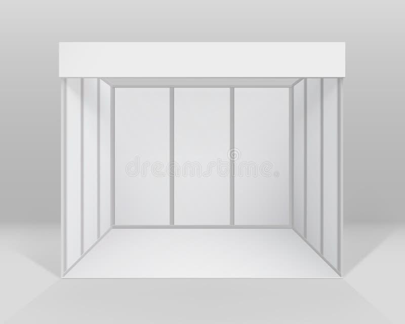 Άσπρη κενή εσωτερική τυποποιημένη στάση θαλάμων εμπορικής έκθεσης για την παρουσίαση με το υπόβαθρο διανυσματική απεικόνιση