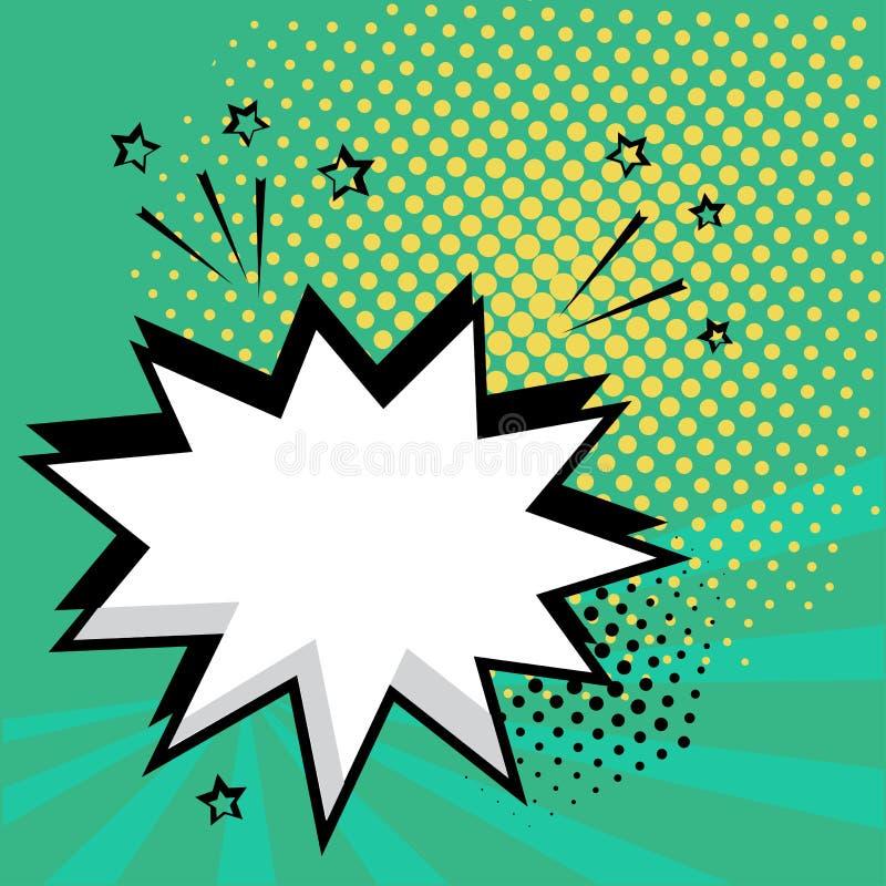 Άσπρη κενή λεκτική κωμική φυσαλίδα με τα αστέρια και τα σημεία Διανυσματική απεικόνιση στο λαϊκό ύφος τέχνης ελεύθερη απεικόνιση δικαιώματος