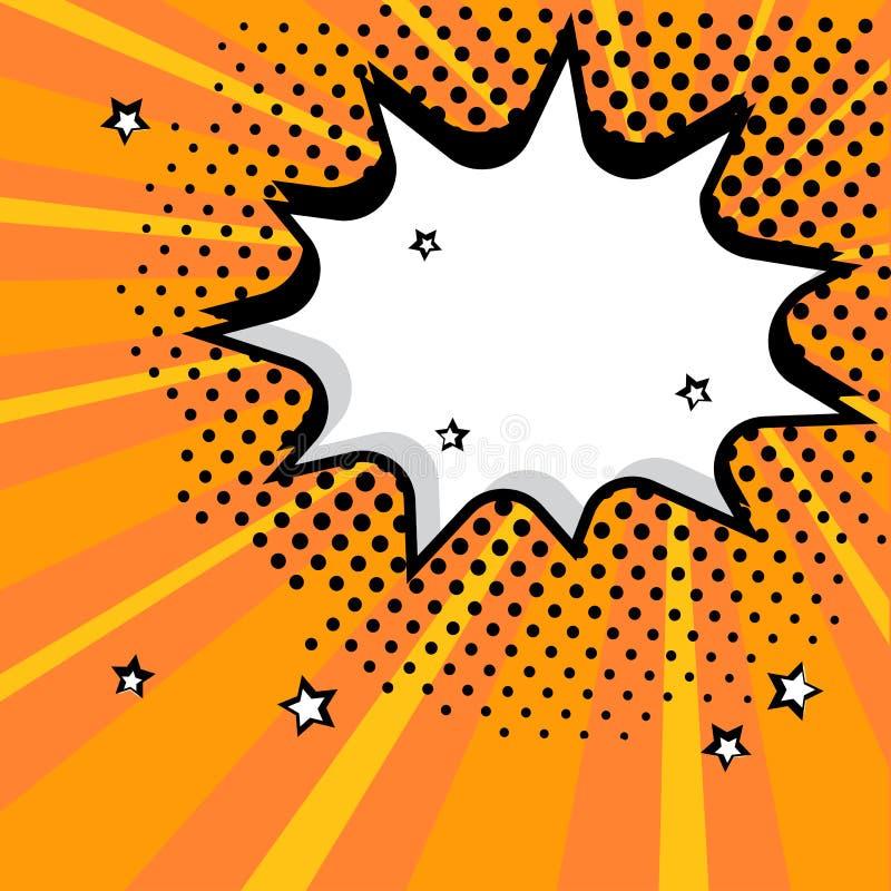 Άσπρη κενή λεκτική κωμική φυσαλίδα με τα αστέρια και τα σημεία Διανυσματική απεικόνιση στο λαϊκό ύφος τέχνης διανυσματική απεικόνιση