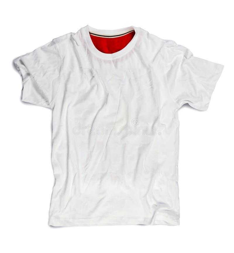 Άσπρη κενή μπλούζα για το πρότυπο που απομονώνεται στο λευκό στοκ φωτογραφία με δικαίωμα ελεύθερης χρήσης