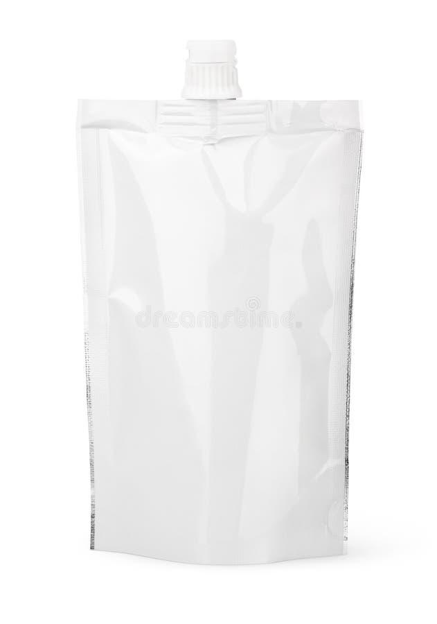 Άσπρη κενή σακούλα σωλήνων με την ΚΑΠ ή το doy πακέτο στοκ εικόνες με δικαίωμα ελεύθερης χρήσης