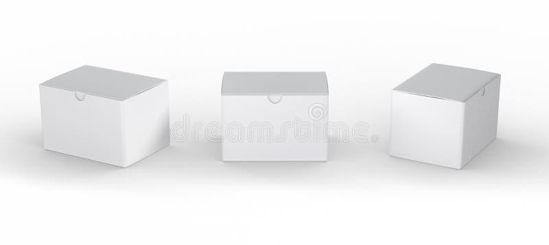Άσπρη κενή συσκευασία κιβωτίων με το ψαλίδισμα της πορείας απεικόνιση αποθεμάτων