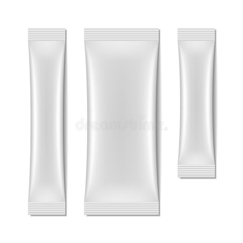 Άσπρη κενή συσκευασία σακουλιών, πακέτο ραβδιών διανυσματική απεικόνιση