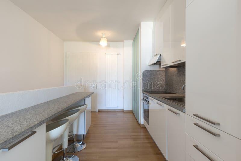 Άσπρη κουζίνα με το παρκέ σε ένα στούντιο στοκ φωτογραφίες με δικαίωμα ελεύθερης χρήσης