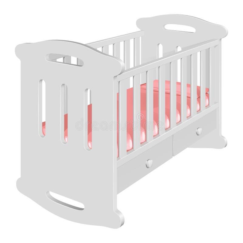 Άσπρη κούνια-λικνίζοντας καρέκλα παιδιών ` s για ένα μωρό ελεύθερη απεικόνιση δικαιώματος
