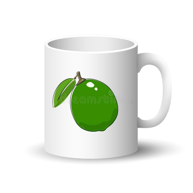 Άσπρη κούπα με τον πράσινο ασβέστη απεικόνιση αποθεμάτων