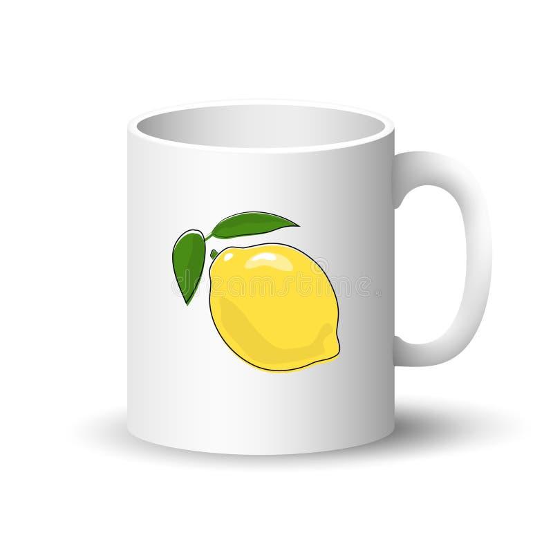 Άσπρη κούπα με το λεμόνι διανυσματική απεικόνιση