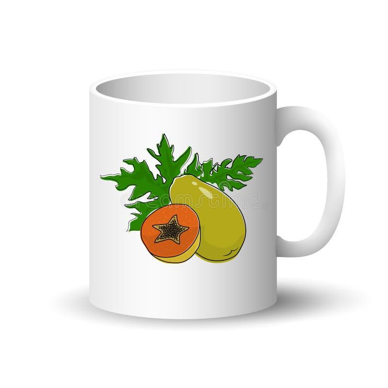 Άσπρη κούπα με Papaya απεικόνιση αποθεμάτων