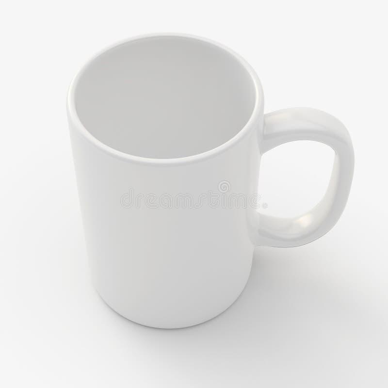 Άσπρη κούπα στο λευκό ελεύθερη απεικόνιση δικαιώματος