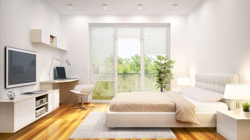 Άσπρη κρεβατοκάμαρα σύγχρονου σχεδίου σε ένα μεγάλο σπίτι στοκ εικόνες