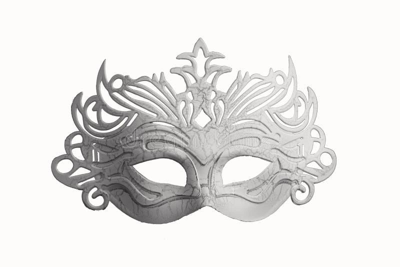 Άσπρη μάσκα καρναβαλιού σε ένα άσπρο υπόβαθρο 1 στοκ φωτογραφία