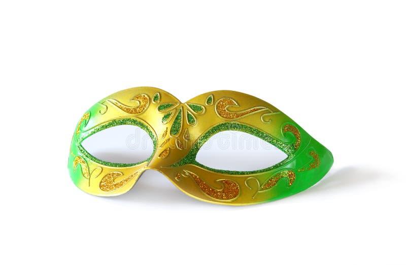 Άσπρη μάσκα καρναβαλιού glamor στο λευκό στοκ εικόνα
