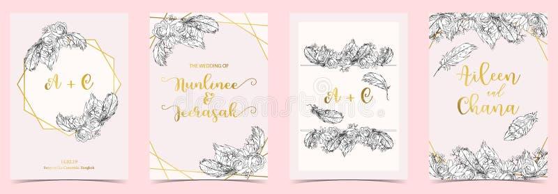 Άσπρη, μαύρη, χρυσή κάρτα γαμήλιας πρόσκλησης περιλήψεων γεωμετρίας με το ρ διανυσματική απεικόνιση