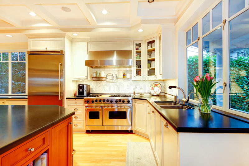Άσπρη μεγάλη κουζίνα πολυτέλειας με την τεράστια σόμπα και το ψυγείο. στοκ φωτογραφίες
