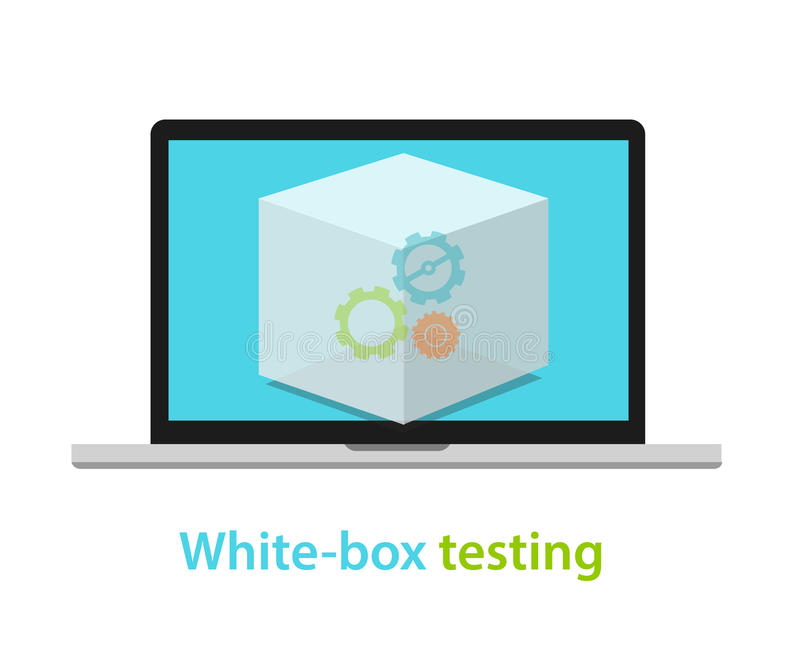 Άσπρη μεθοδολογία διαδικασίας ανάπτυξης εφαρμογών λογισμικού κιβωτίων εξεταστική διανυσματική απεικόνιση