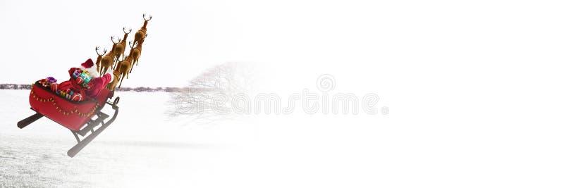 Άσπρη μετάβαση του ελκήθρου και του ταράνδου ` s Santa ` s απεικόνιση αποθεμάτων