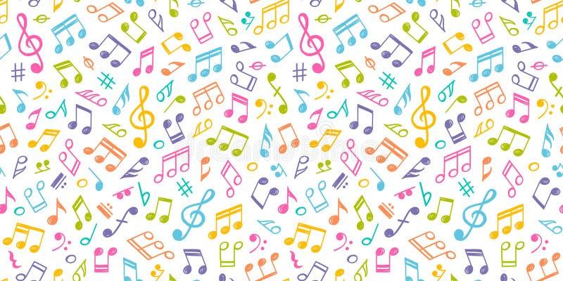 Άσπρη μουσική άνευ ραφής σύσταση με τις ζωηρόχρωμες σημειώσεις διανυσματική απεικόνιση